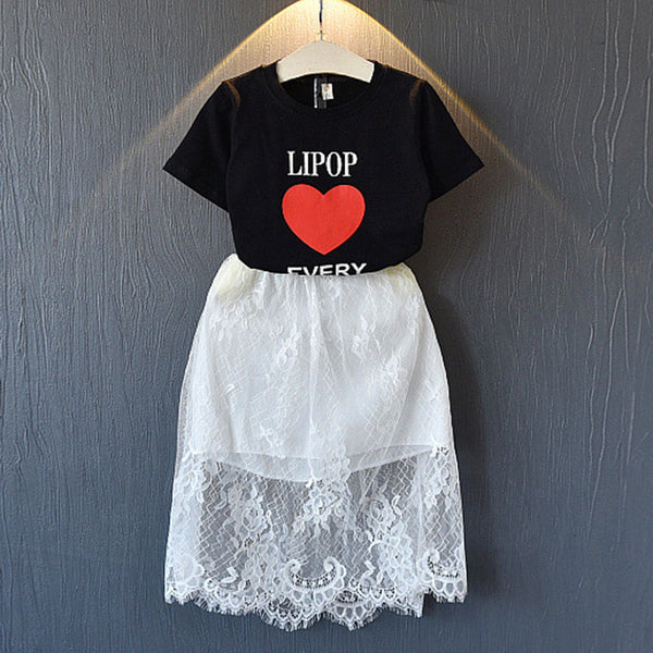 Bear Leader Girls Clothing Sets 2018 Summer New Mother And Daughter Set Skirt Love Letter Short-Sleeved T-Shirt Western Suit