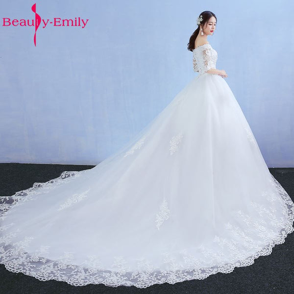 Beauty Emily Luxury Lace Long Ball Gown White Wedding Dresses 2018 Half Sleeve V-Neck Lace Up Tulle