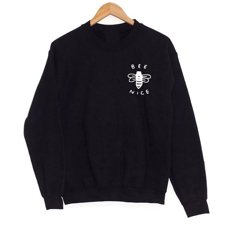 Bee Nice Pocket Print Sweatshirt Women O Neck Long Sleeve Pullover Jumper Top Save The Bees Hoodies Streetwear Drop Shipping Beal Daily Deals For Moms