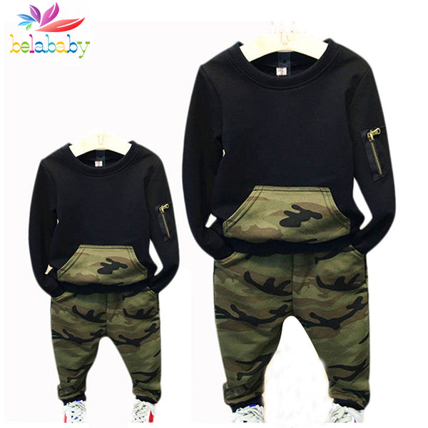Belababy Family Matching Outfits 2017 New Spring Kids Parents Camouflage Clothing Set Family Long Sleeve Clothes Sets For Boys