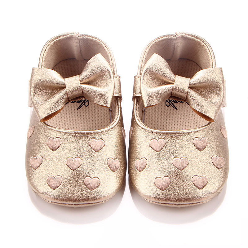 f6679a5f237f2 Big bow embroidery love pu leather baby girl shoes non-slip soft ...