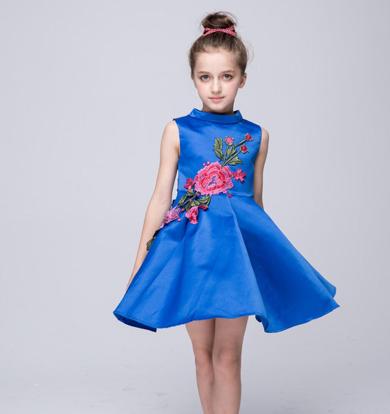 Big girls princess floral dresses party wedding flower pleated silk cotton blue white children kids formal evening gown FD016