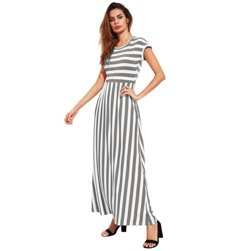 61b82a6b1 Black White Striped Dress 2018 New Elegant Summer Dress Women Short Sleeve  O Neck Fashion Fit And Flare Casual Dress – Beal | Daily Deals For Moms