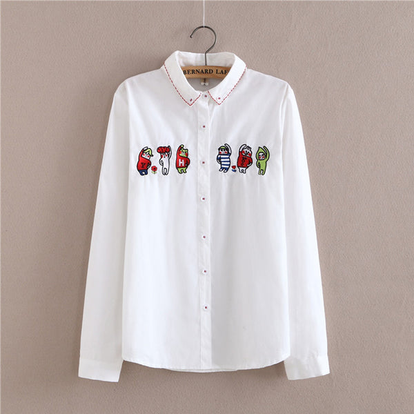 Blouse Shirt Female Cotton 2017 New Summer Autumn Solid Sweet Cartoon Embroidery Shirts Women Long Sleeve Tops Ladies Clothing