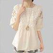 Blusas Crochet Hollow out Lace Women Blouses Summer Casual Loose Cute Patchwork White Shirt Women Tops 2017 M-2XL A272