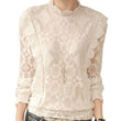 Blusas Femininas 2016 Spring Autumn Women Fashion Crochet Hollow out Lace Blouse Long Sleeve White Tops Shirts A542