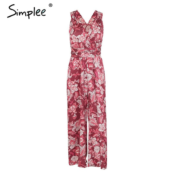 Boho floral print v neck sexy jumpsuit women Backless lace up casual jumpsuit romper 2018