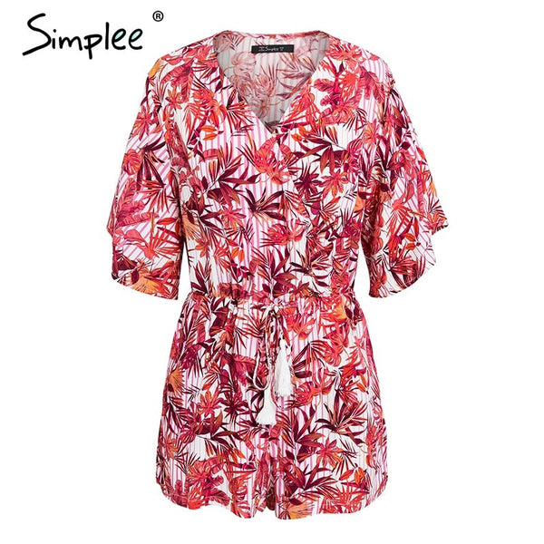 Boho tropical print rompers womens jumpsuit Ruffle sleeve summer beach playsuit Tassel