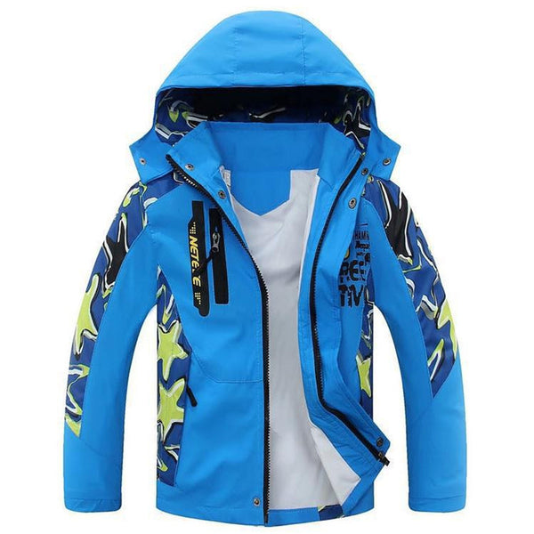 Boy's Letter Printed Pattern Coats Children's Water Repellent Windproof Softshell Jackets Tops