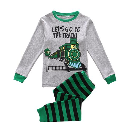 Boys Pajamas Cotton Pjs, Let's Go To The Train Print Toddler Shirt and Stripe Pants Outfits