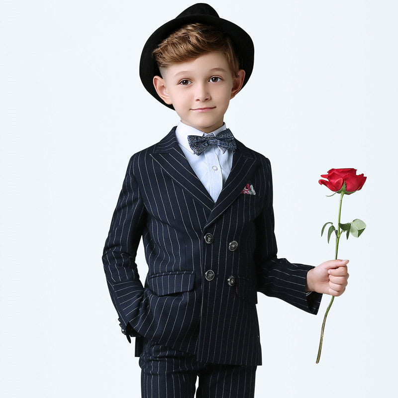 6fbab118f09c8 Boys Striped Blazer Wedding Suits Brand Kids 5PCS Formal Suits with Bow  Boy's Party Tuxedos
