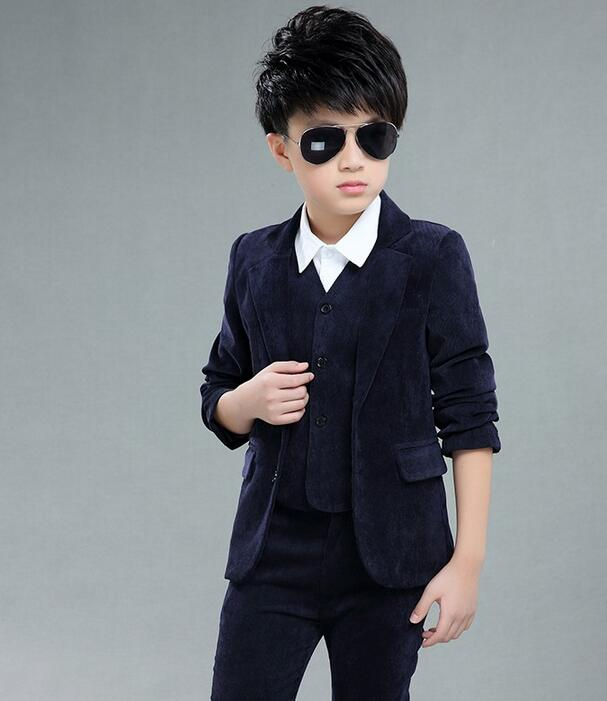 Boys Wedding Suit Kids Tuxedos Page Boy Outfits 3 Pieces Autumn Clothing Sets Boys Blazer Suit