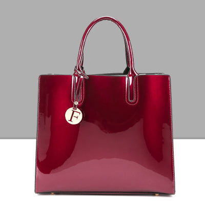 Bright Solid Patent Leather Women Fashion Bags Ladies Simple Luxury Handbags Casual Shoulder