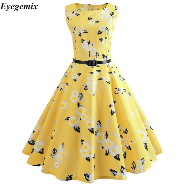 Butterfly Floral Vintage Dress Robe Summer Sexy Sleeveless 50s 60s Audrey Hepburn Style Yellow