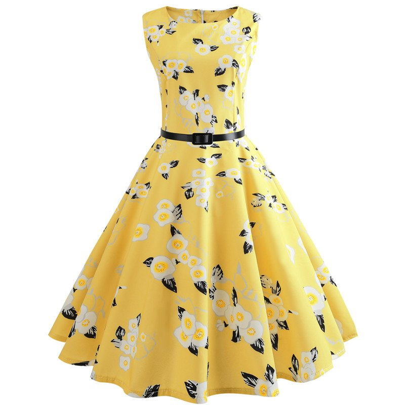 99bbc9044944 Butterfly Floral Vintage Dress Robe Summer Sexy Sleeveless 50s 60s ...
