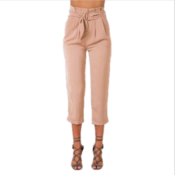 CALOFE 2018 Brand High Waisted Pencil Pants Fashion Womens Drawstring Long Vintage Pants Fitness