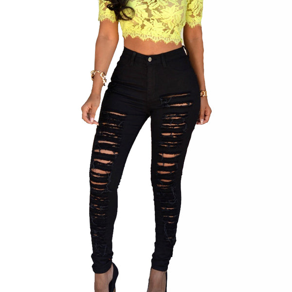CALOFE 2018 Fashion Hole Jeans Beggars Wear Broken Elastic Pencil Pants Women Slim Package Hip