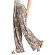 CALOFE Fashion Floral Printed Women Leggings High Waist Lady Loose Wide Leg Long Pants Palazzo Soft