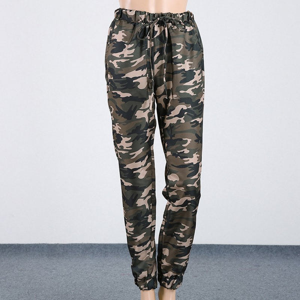 CALOFE Printed Camouflage Pants Women Elastic Waist Straight Army Military Style Trousers Two
