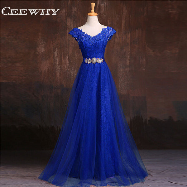 CEEWHY Burgundy Appliques Lace Evening Dresses Long Prom Dresses Crystal Evning Gown Robe De Soiree