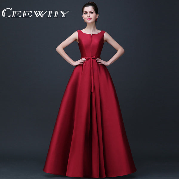 CEEWHY Sleeveless Satin Dress Elegant Evening Dresses Long A-line Prom Formal Party Dresses Vestido
