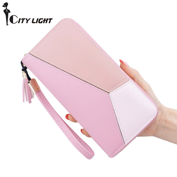 CITY LIGHT New Fashion Women Wallets PU Leather Zipper  Wallet Women's Long Design Purse Clutch Wrist Brand Mobile Bag