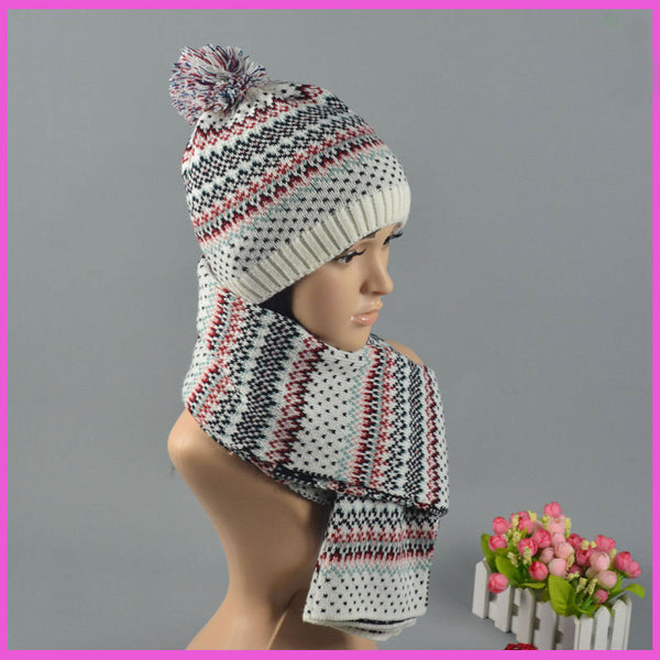 CIVICHIC Fashion Knit Hat Handmade Scarf Jacquard Two Piece Set Winter Warm Neck Headwear Color Mix Chic Thicken Cap Shawl SH106