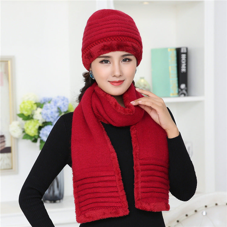 bee3f8f6628 CIVICHIC Old Bonnet Warm Set Crochet Hat Scarf with Velvet Woman Knit – Beal