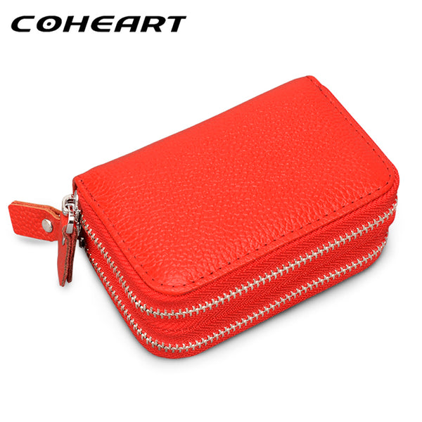 COHEART Genuine Leather Card Wallet Women 100% real cowhide top quality women's purse female wallet small credit card holders !