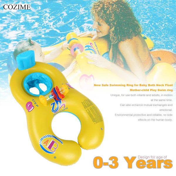 COZIME Baby Swimming Float Neck Inflatable Mother Baby Swim Float Ring Double Person Swimming Ring Safety Swim Pool Accessories