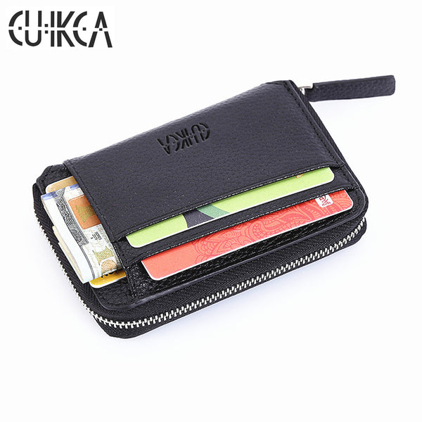 CUIKCA Fashion Wallet Women Men Wallet Mini Leather Wallet Zipper Coins Slim Wallet Purse Credit ID & Card Holders Card Cases