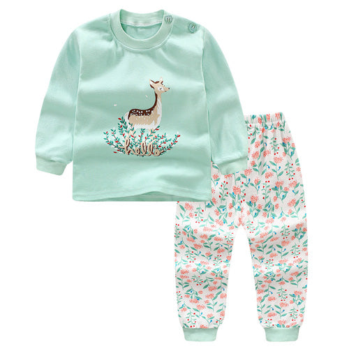 Cartoon Deer Baby Girls Clothes Set Autumn 2018 New Kids Boys Clothes Long Sleeve Baby Boys
