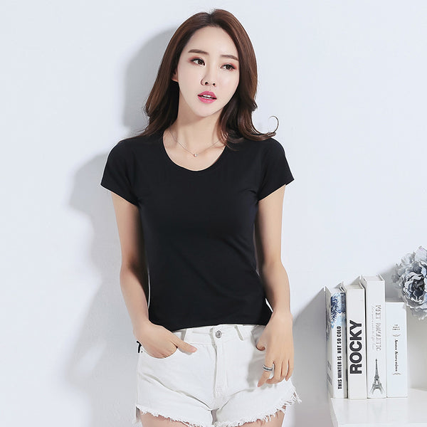 Casual Basis T Shirt Female European Harajuku Summer T Shirt Women Plus Size O-neck Short Sleeve Slim Women's T-shirt Tops