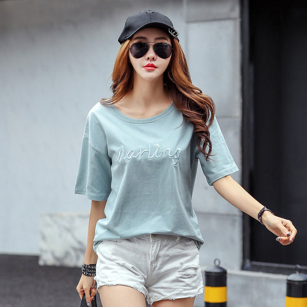 Casual Loose Letter Embroidery T Shirt 2017 Women Summer Womens T-shirt Short Sleeve O Neck High Quality tee Tops Mujer CS3879