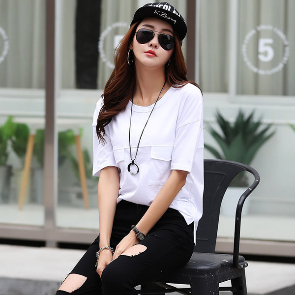 Casual Loose T Shirt For Women Summer Double Pocket White T-shirt Short Sleeve O Neck High Quality Tee Tops Mujer 2017 CS3885