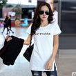 Casual Loose Tops Summer Short Sleeve Letter Print Long t shirt Women Side Split Black White Yellow Pink t-shirt Top 2016 A190