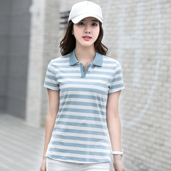 Casual Polo Shirt Women 2018 New Fashion Summer Short Sleeve Striped Polos Mujer Shirts Tops Cotton Polo Shirt Plus Size Female