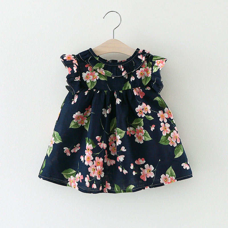 2c3ae114e6e Casual Summer Baby Dress Cotton Floral Infant Girl Dresses Ruffles Toddler  Baby Girl Clothes 3 Colors