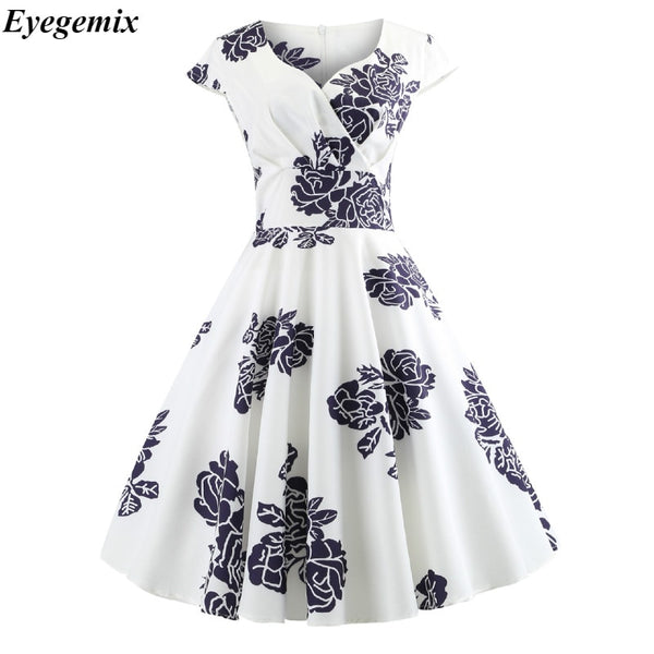 Casual Summer Dress Women 2018 Short Sleeve Hepburn 50s 60s Vintage Elegant Swing Party Dresses