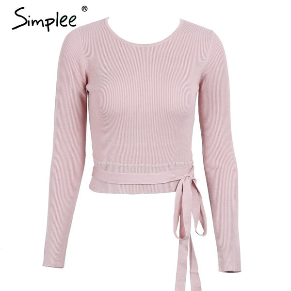Casual tie up knitted sweater women Skinny slim knitting pull femme jumper Crop top winter