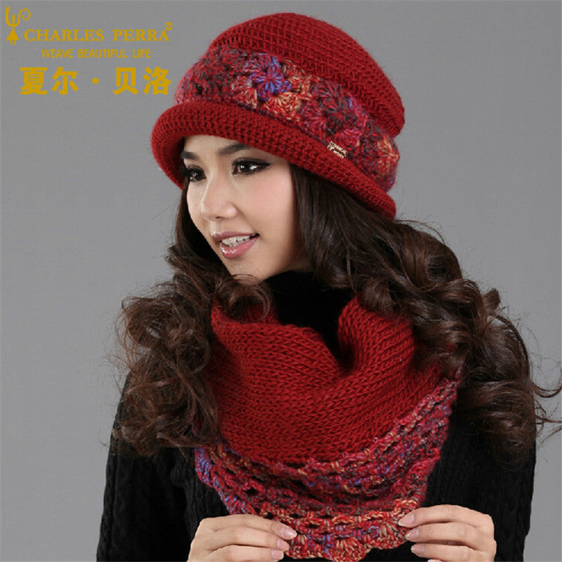 cd56663d497 Charles Perra Women Hat Scarf Sets Winter Thicken Wool Knitted Hats Ca –  Beal