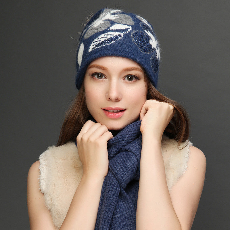 a0583d7f80a Charles Perra Women Hat Scarf Sets Winter Thicken Wool Knitted Hats Casual  Fashion Warm Caps With Hairball 2018 NEW 8312