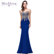 Cheap Mermaid New Royal Blue Long Evening Dress 2018 Robe De Soiree Longue Formal Party Evening