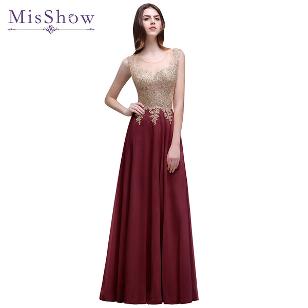 Cheap Women Long Evening Dresses 2018 Appliques Burgundy Sleeveless dress Robe de Soiree Longue