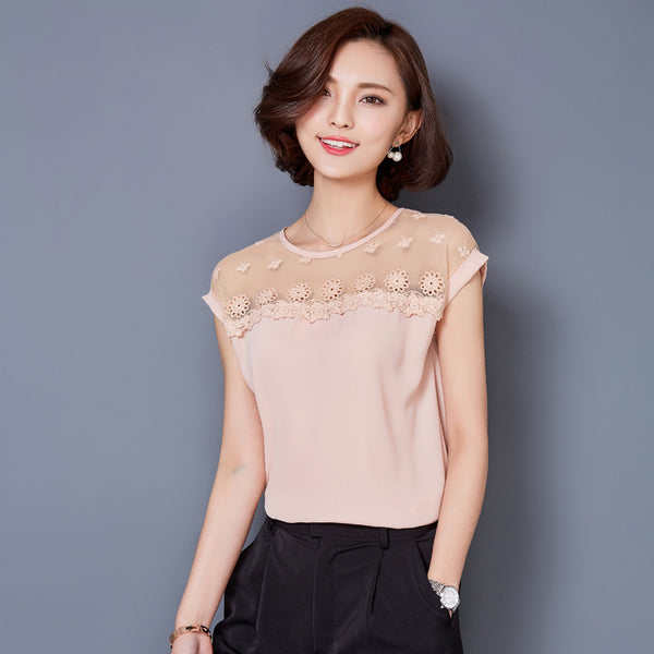 Chiffon Blouses Women Summer Casual Loose Patchwork Mesh Blusa Sexy Vintage Short Sleeve Black Pink Tops Plus Size M-3XL A291