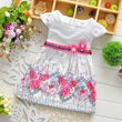 Children Baby girl fashion dress print bead flower kids summer dresses girls princess baby dress free shipping