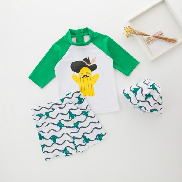 b3d5c2e6ff Children Boys Swimwear Boys Long Sleeve Top + short pants Beach Wear  Bathing Suits with Cap