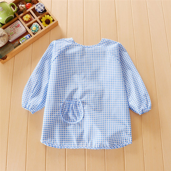 Children Feeding Bib Plaid Apron Baby Waterproof Long Sleeve Bib Art Painting Bibs Feeding