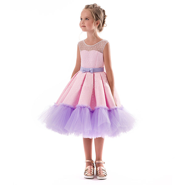 Children Frocks For Kids Party Wear Infant Princess Summer Party Costume Wedding Dress With Bow 3 6