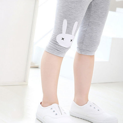 Children Girls Leggings Summer Knee Length Pants Cute Rabbit Printed Girls Pants Children Kids